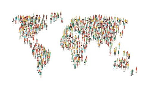 Mapamundi hecho con personas para representar la educación para una ciudadanía mundial.