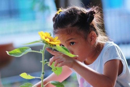 Niña mirando una flor y adquiriendo nuevos conocimientos.