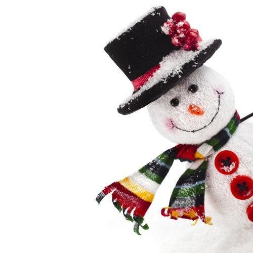 Muñeco de nieve para recibir el invierno.