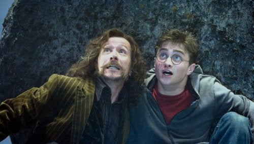 Sirius Black y Harry Potter pelando juntos.