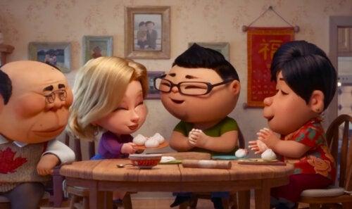 Personajes de Bao, el cortometraje que habla sobre el síndrome del nido vacío.