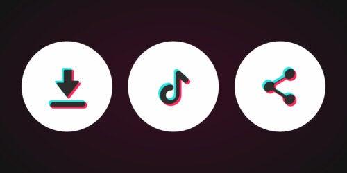 Botones de la red social TikTok.