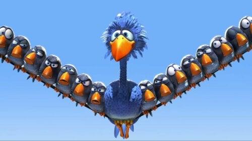 Pájaros protagonistas del cortometraje For the Birds de Pixar sobre la diversidad.