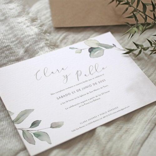 Una de las invitaciones de boda de Cottonbird.