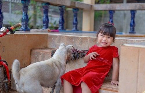 Niña con miedo a los perros poniendo en práctica la desensibilización sistemática.