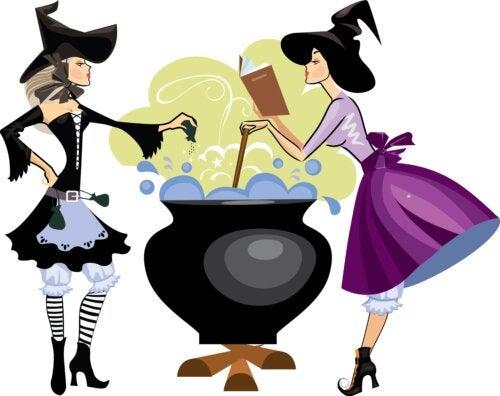 Brujas haciendo conjuros en su caldero mágico.