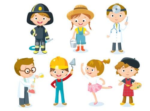 Dibujo de unos niños representando las diferentes profesiones que aparecen en el libro.