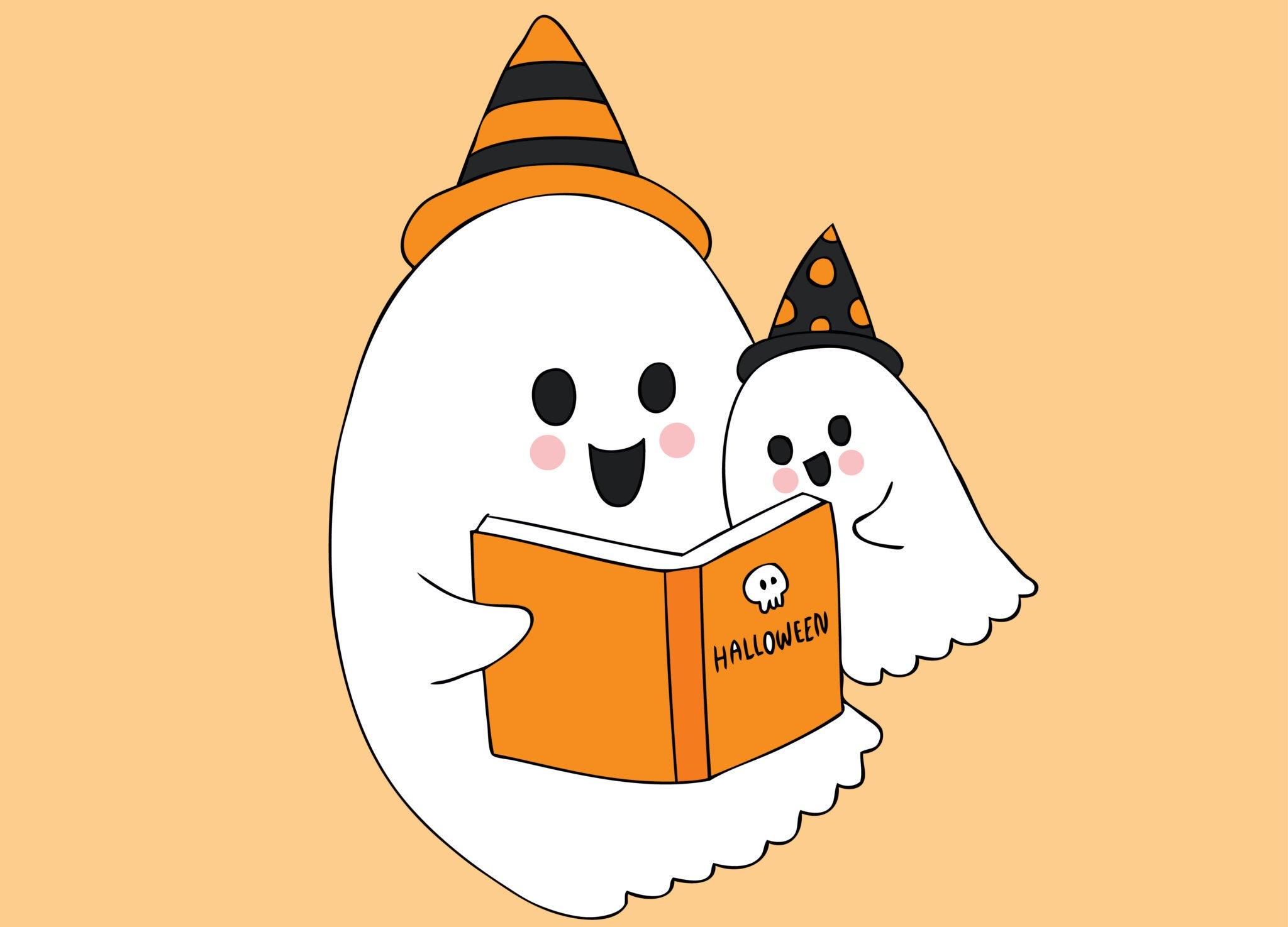 Fantasmas leyendo un libro.