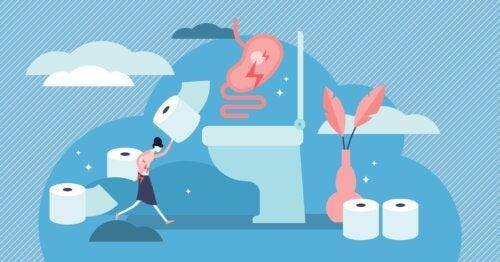 Mujer corriendo al baño con un rollo de papel higiénico debido a que sufre gastroenteritis.