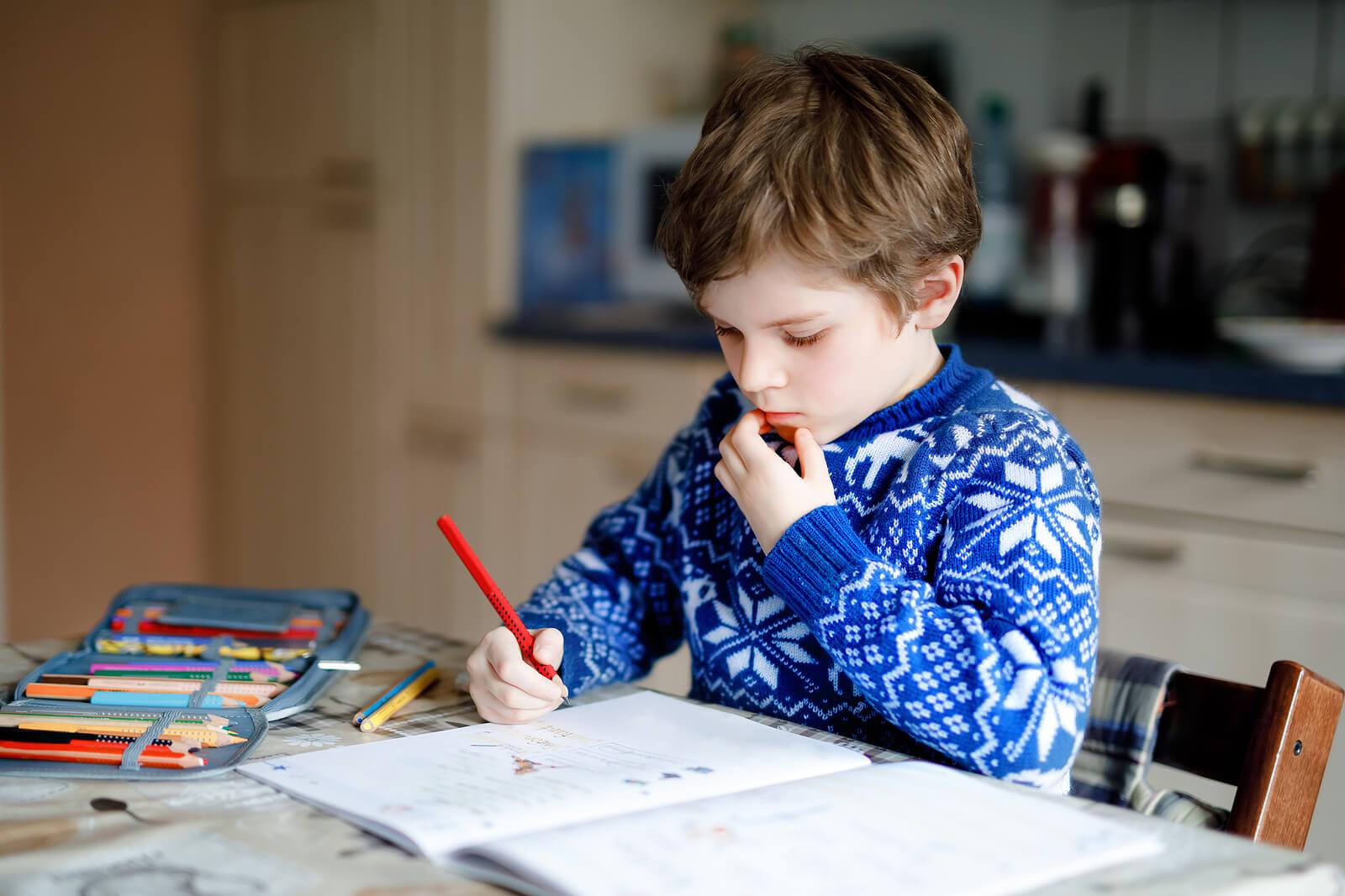 Niño haciendo deberes en casa durante sus horas de estudio.