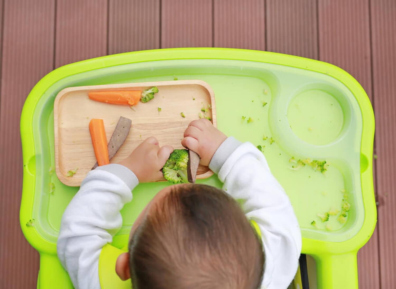 Los alimentos no triturados deben introducirse poco a poco, así el niño aprende a masticar.