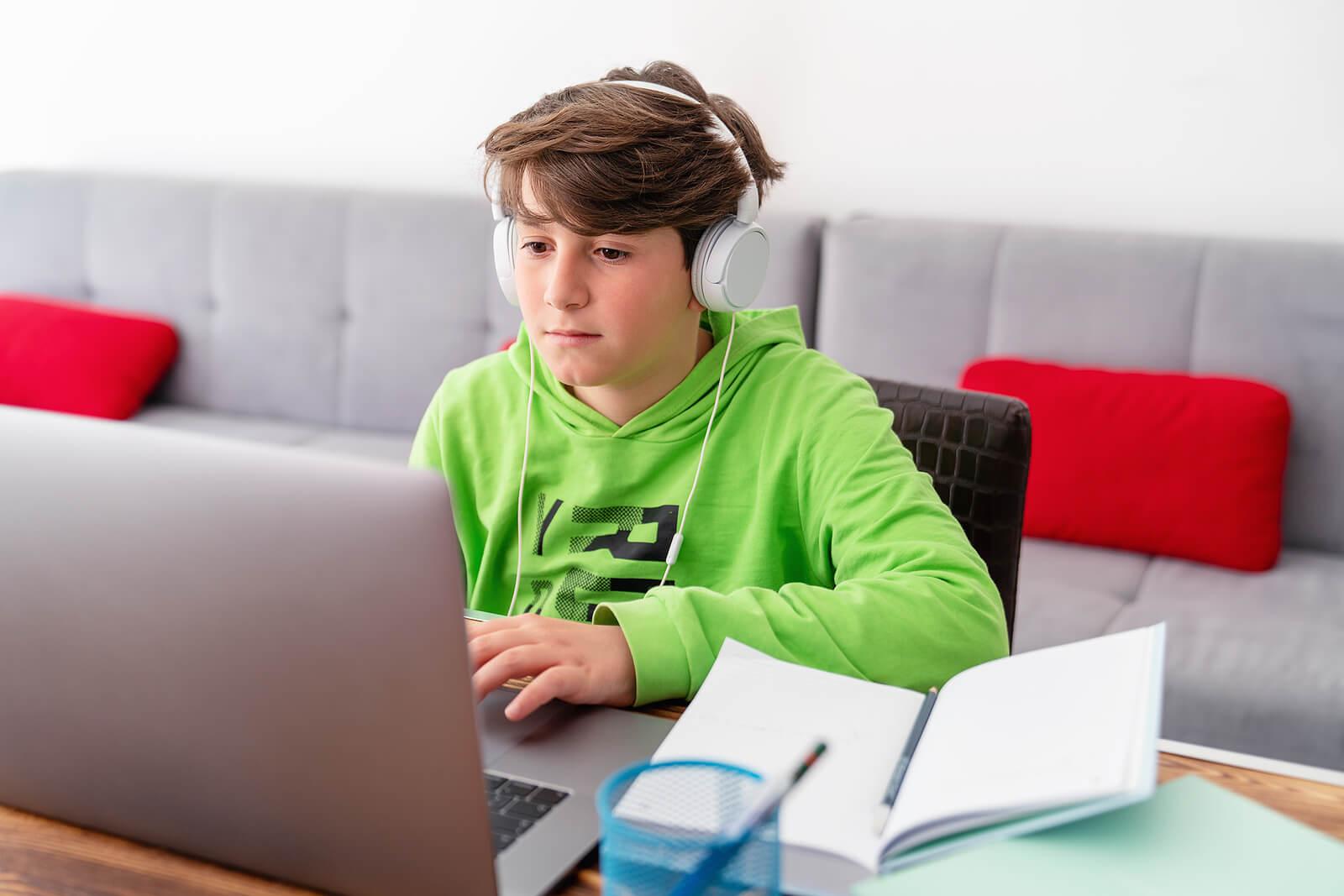 Chico estudiando en casa con el ordenador.