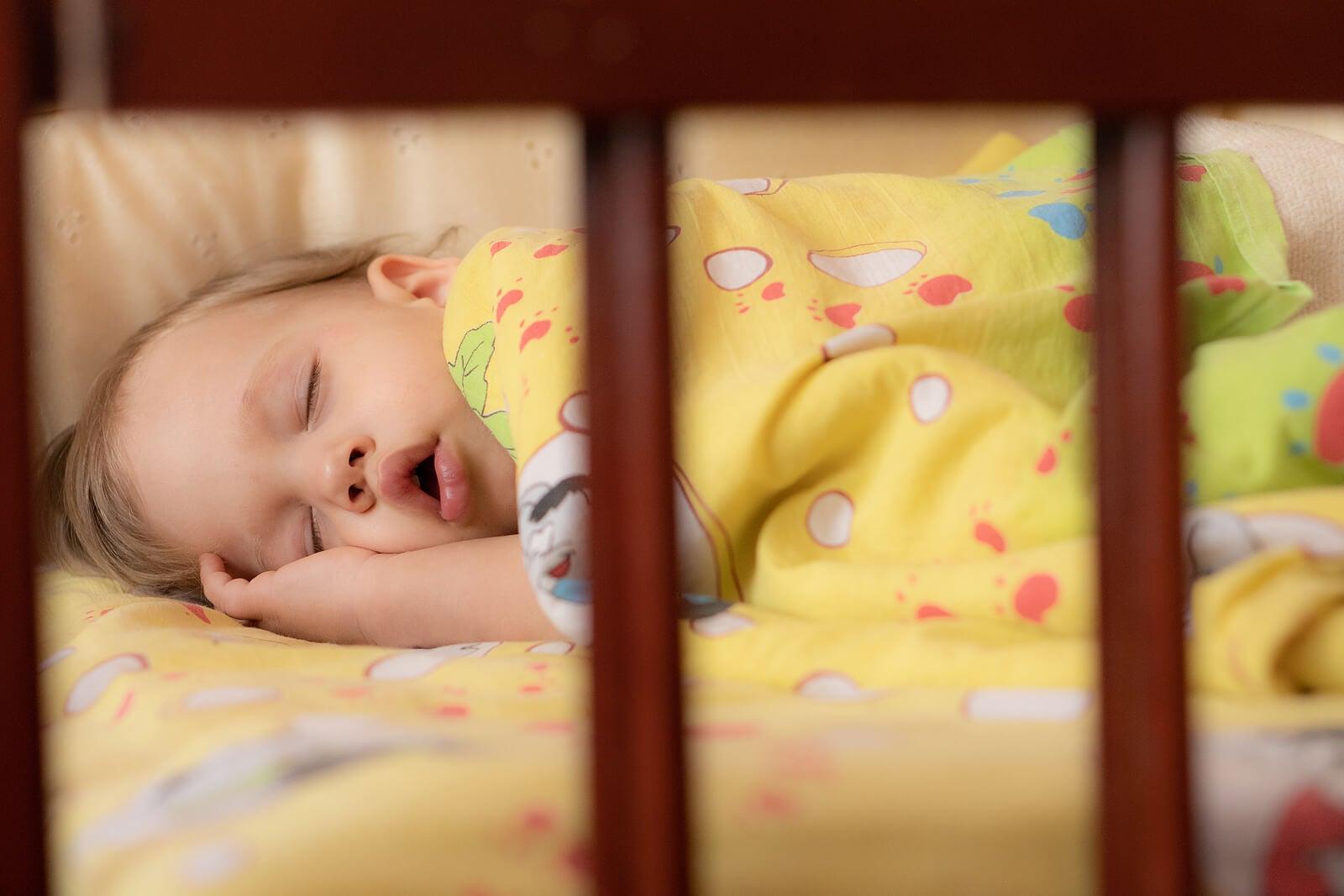 Niña durmiendo plácidamente en su cuna en su propia habitación.