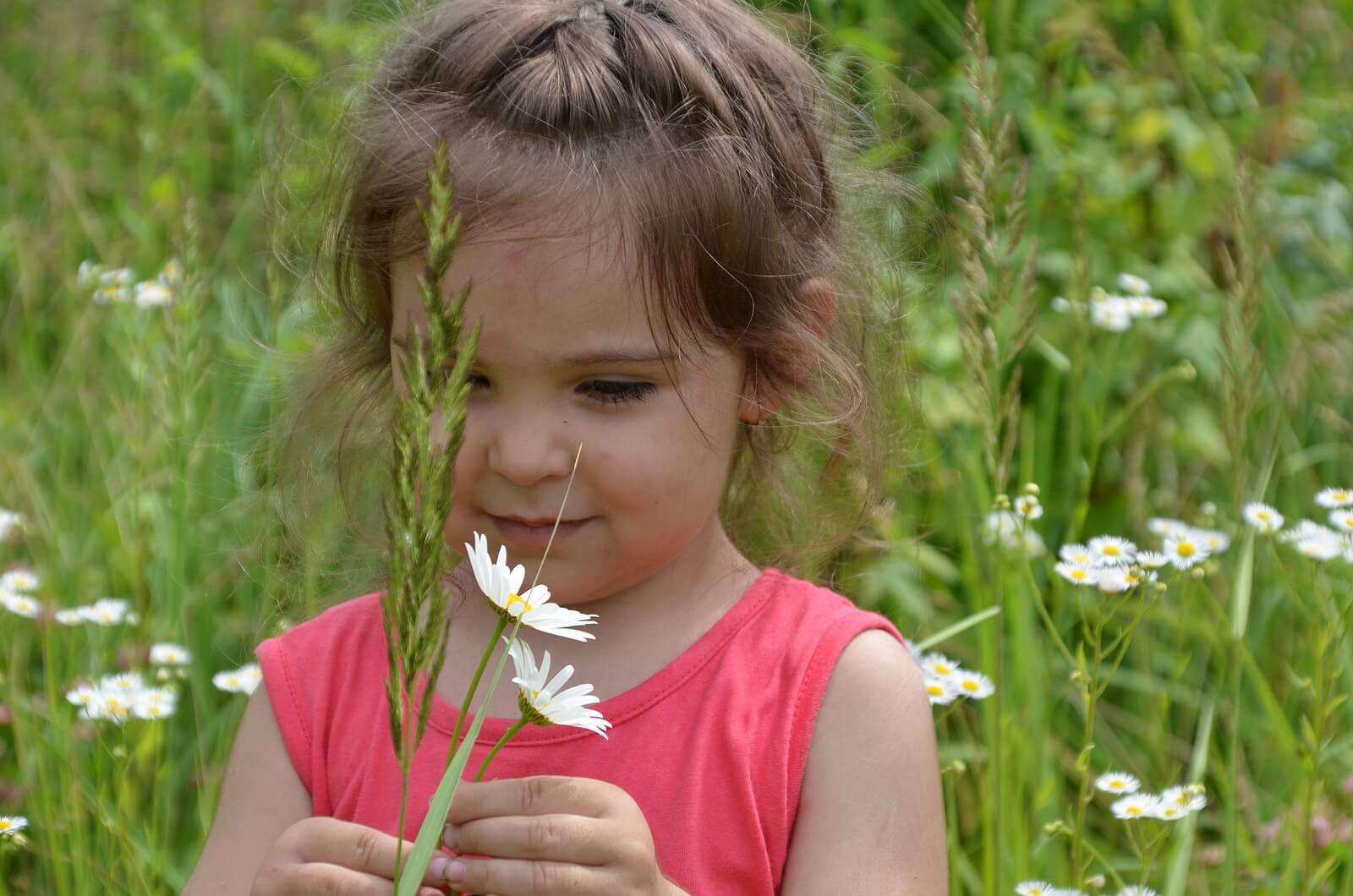 Niña oliendo flores en campo.
