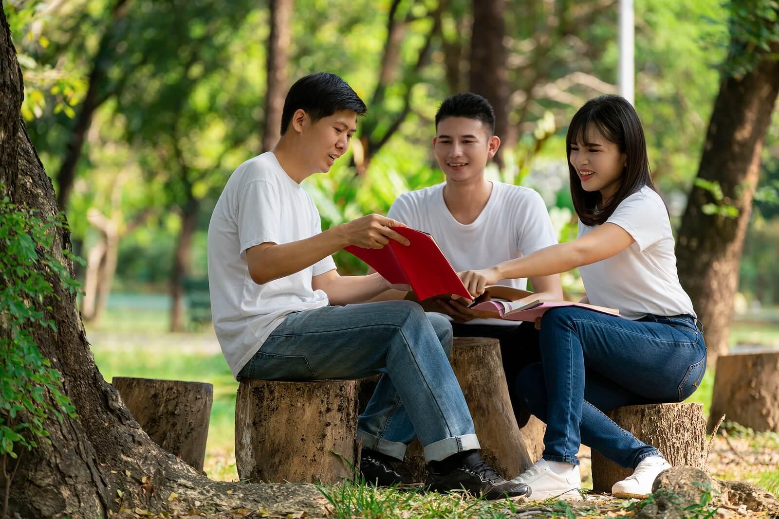 Chicos adolescentes al aire libre practicando el aprendizaje-servicio.