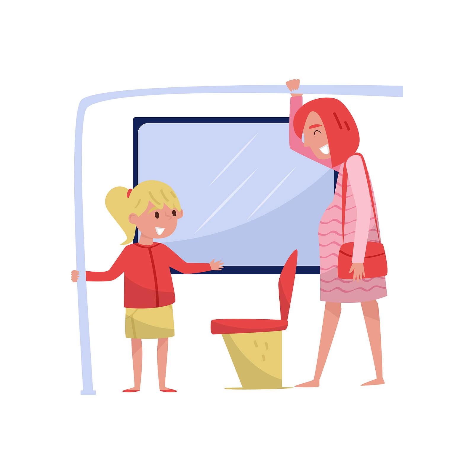 Dibujo de una niña cediéndole un asiento en el autobús a una mujer embarazada como muestra de buenos modales.