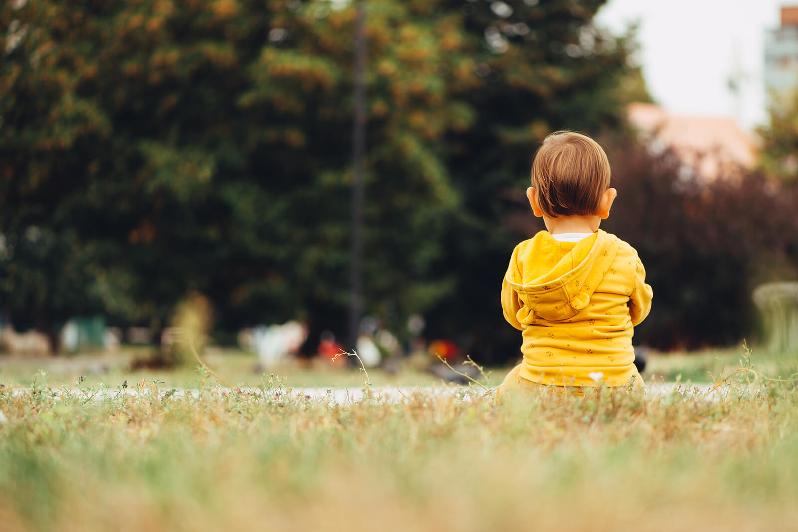 Niño sentado solo en un parque con trastorno de acumulación compulsiva.