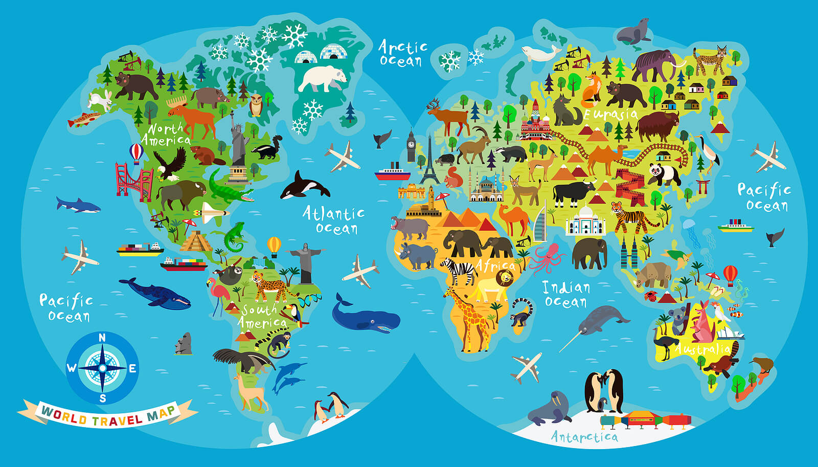 Mapamundi infantil con animales y monumentos destacados.
