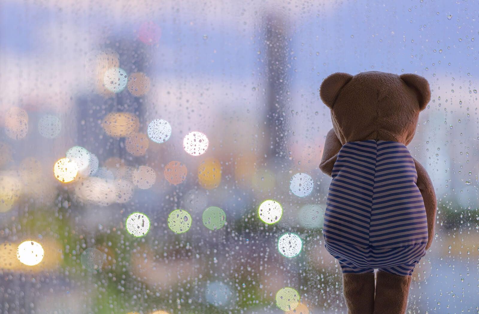 Osito de peluche mirando la lluvia a través de la ventana.