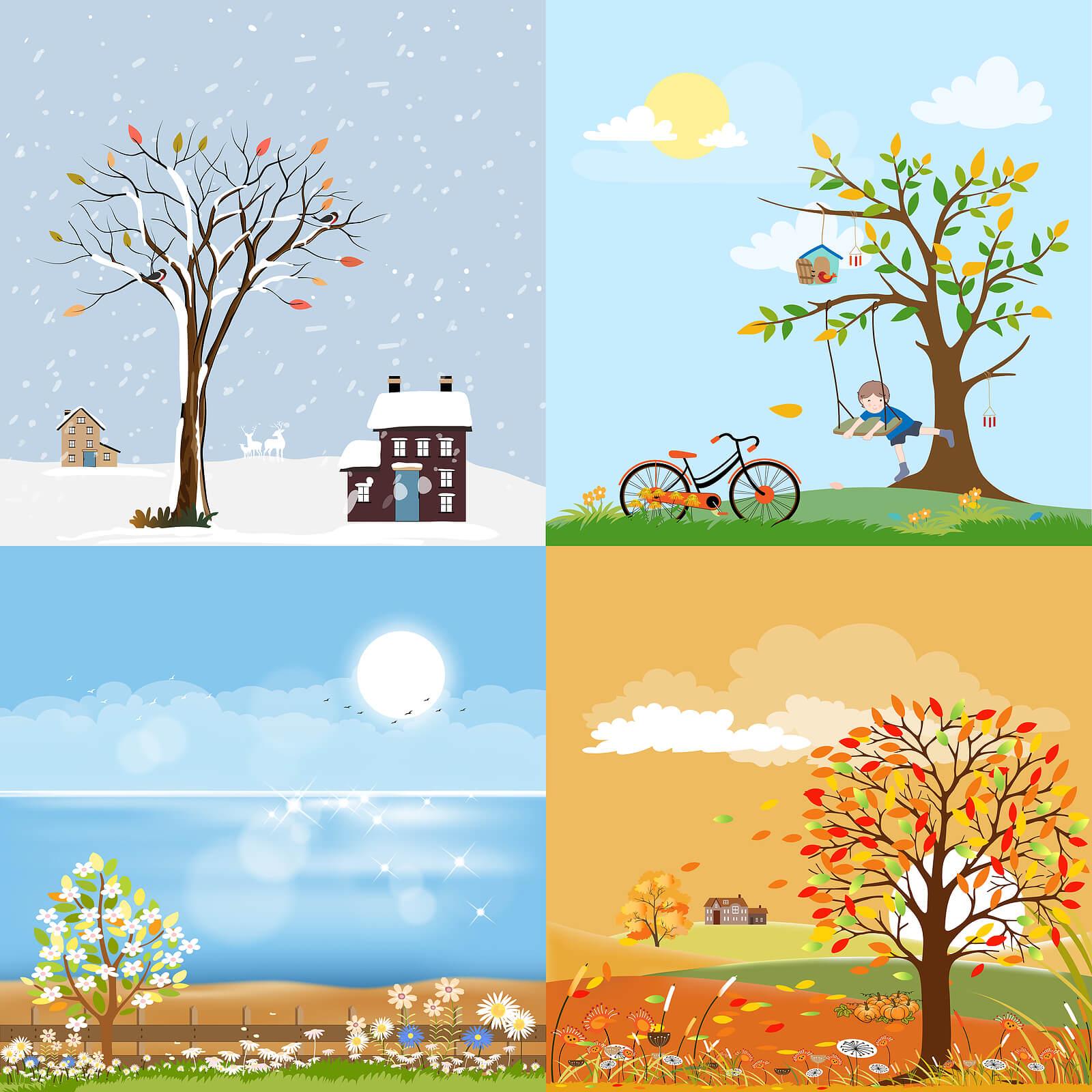 Árboles mostrando las estaciones del año.