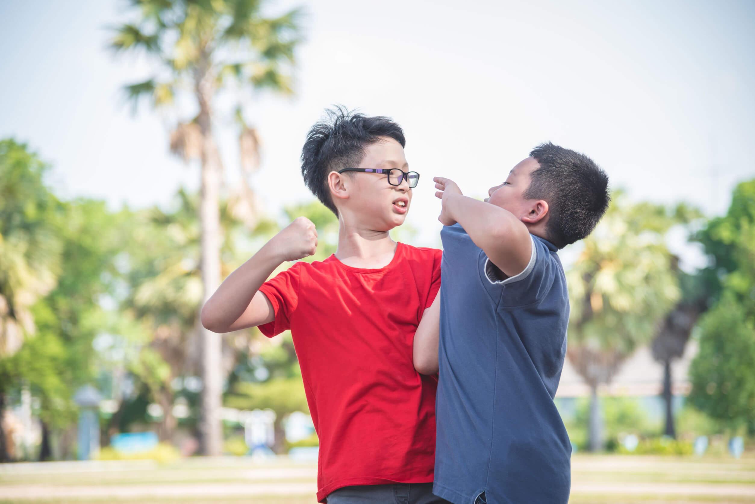 Niño violento pegando a un compañero.