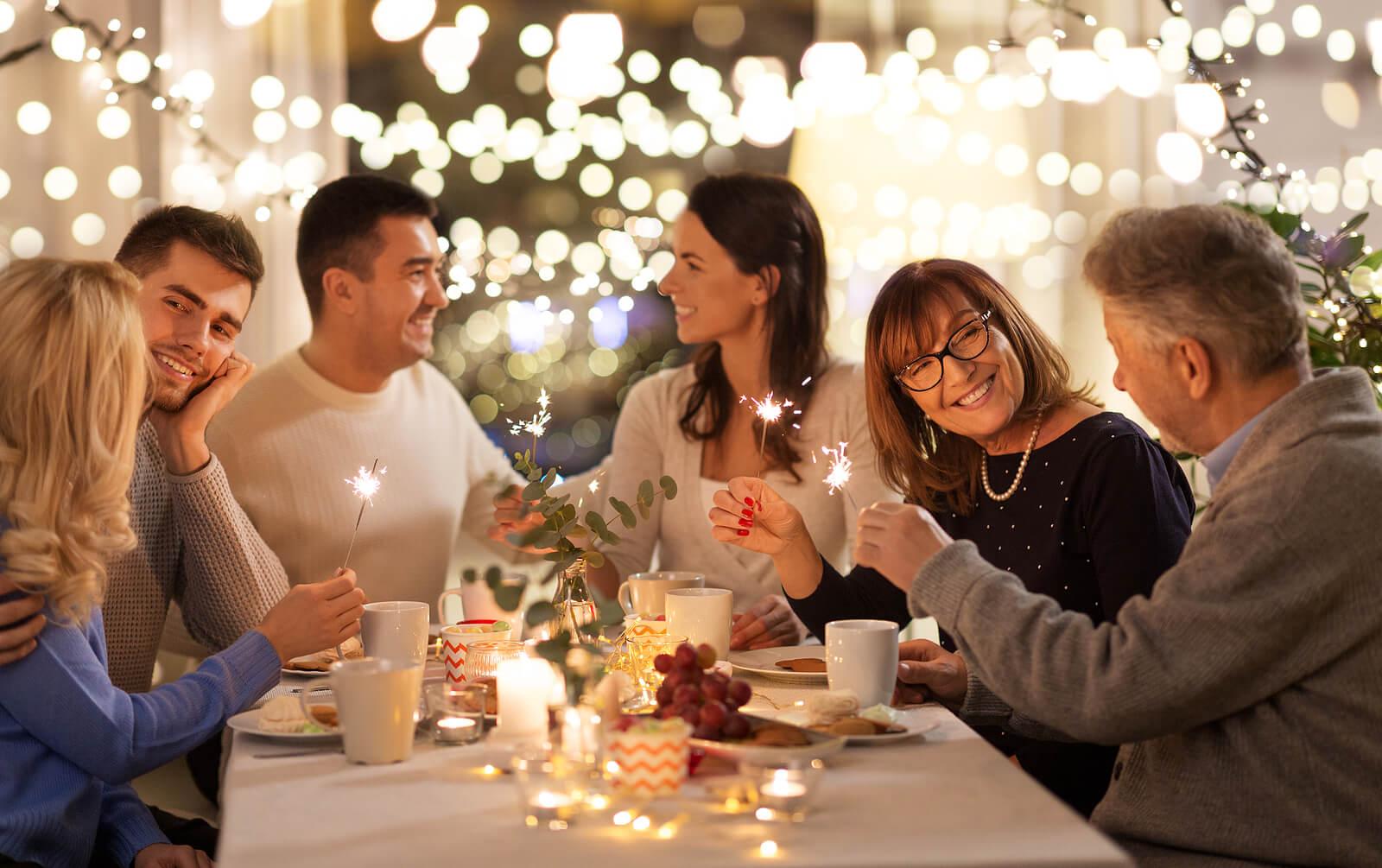 Comida de familia en Navidad.
