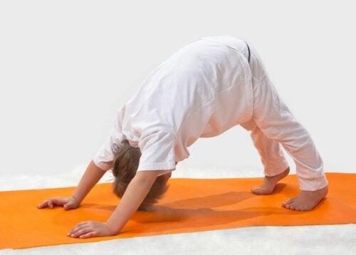 El perro boca abajo: postura de yoga para niños