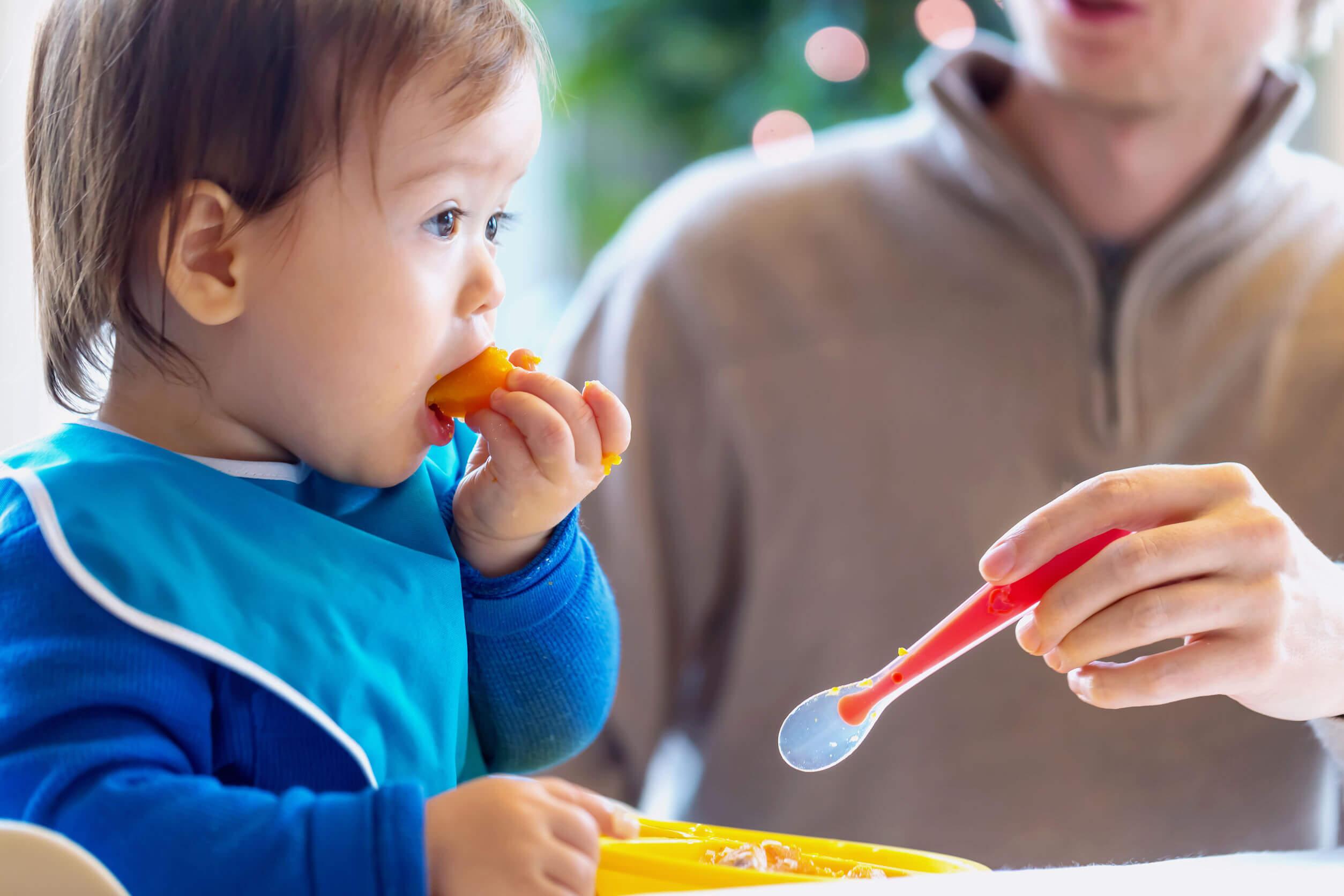 Padre dando de comer a su hijo con alimentación complementaria.