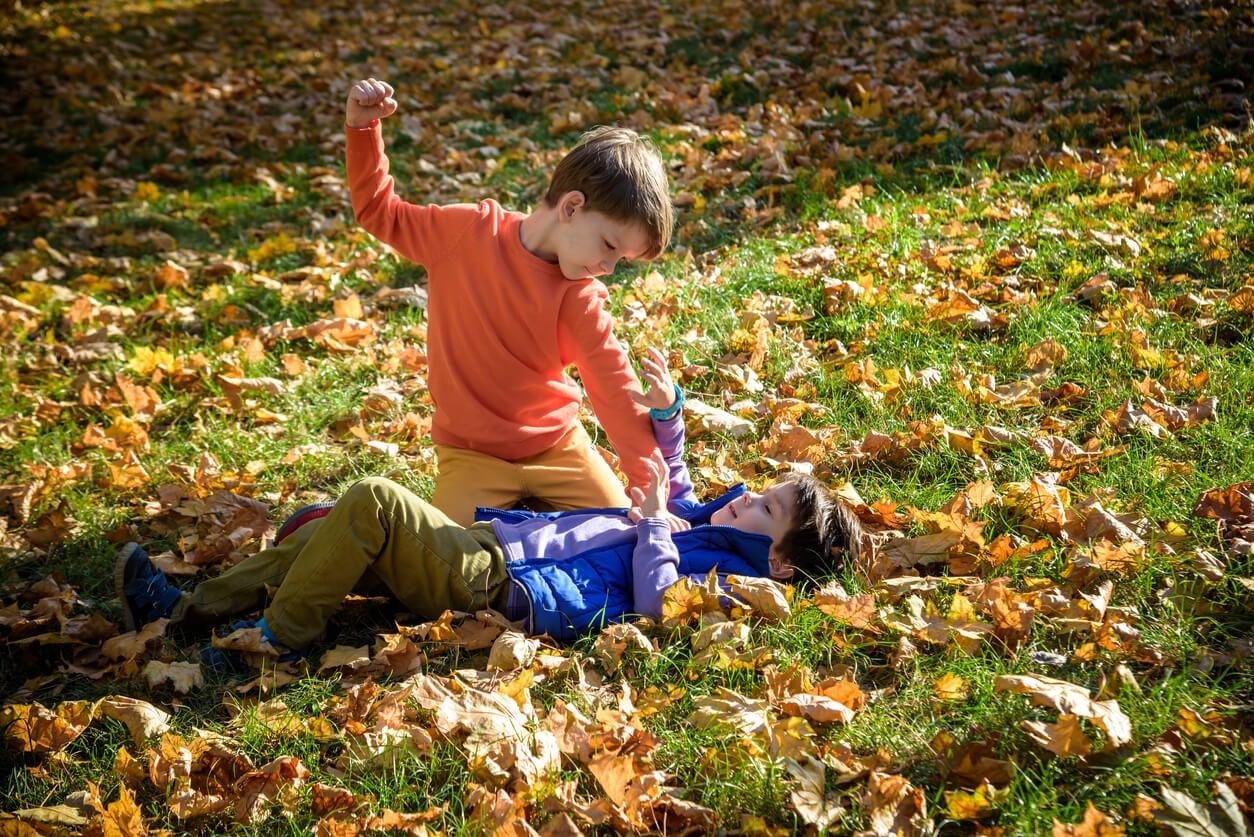 Enfant agressif frappant un autre enfant.