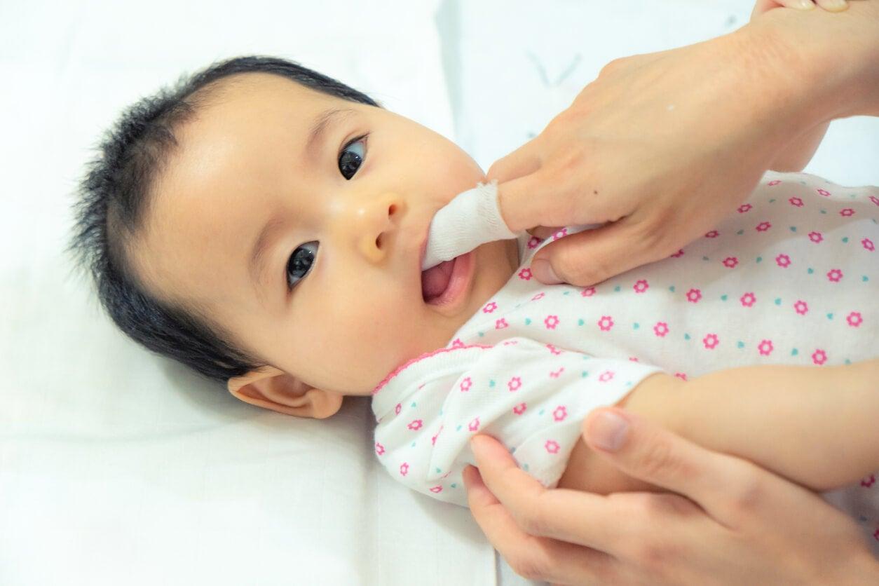 Padres limpiando las encías de su bebé con una gasa.