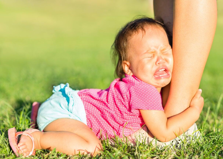 bébé bébé fille anxiété séparation angoisse huitième mois crise de colère jambe mère pleurs