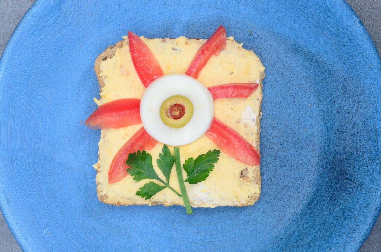 canape pan molde infantil flor picnic divertido saludable