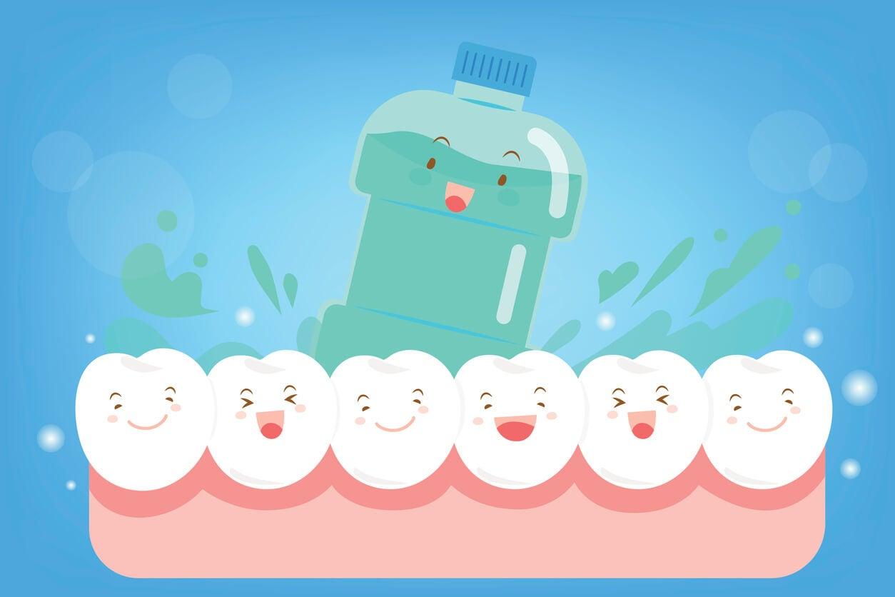 dientes enjuague colutorio infantil ilustracion felices salud buco dental