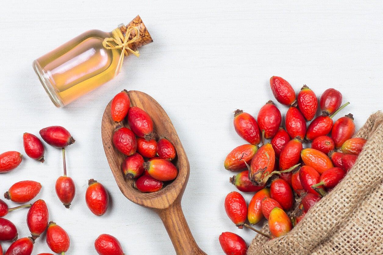 bottiglia cosmetica del cucchiaio di legno della frutta del cinorrodo dell'olio naturale