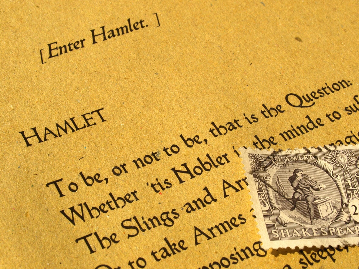 libro hamlet estampilla shakespeare literatura antigua teatro cultura arte