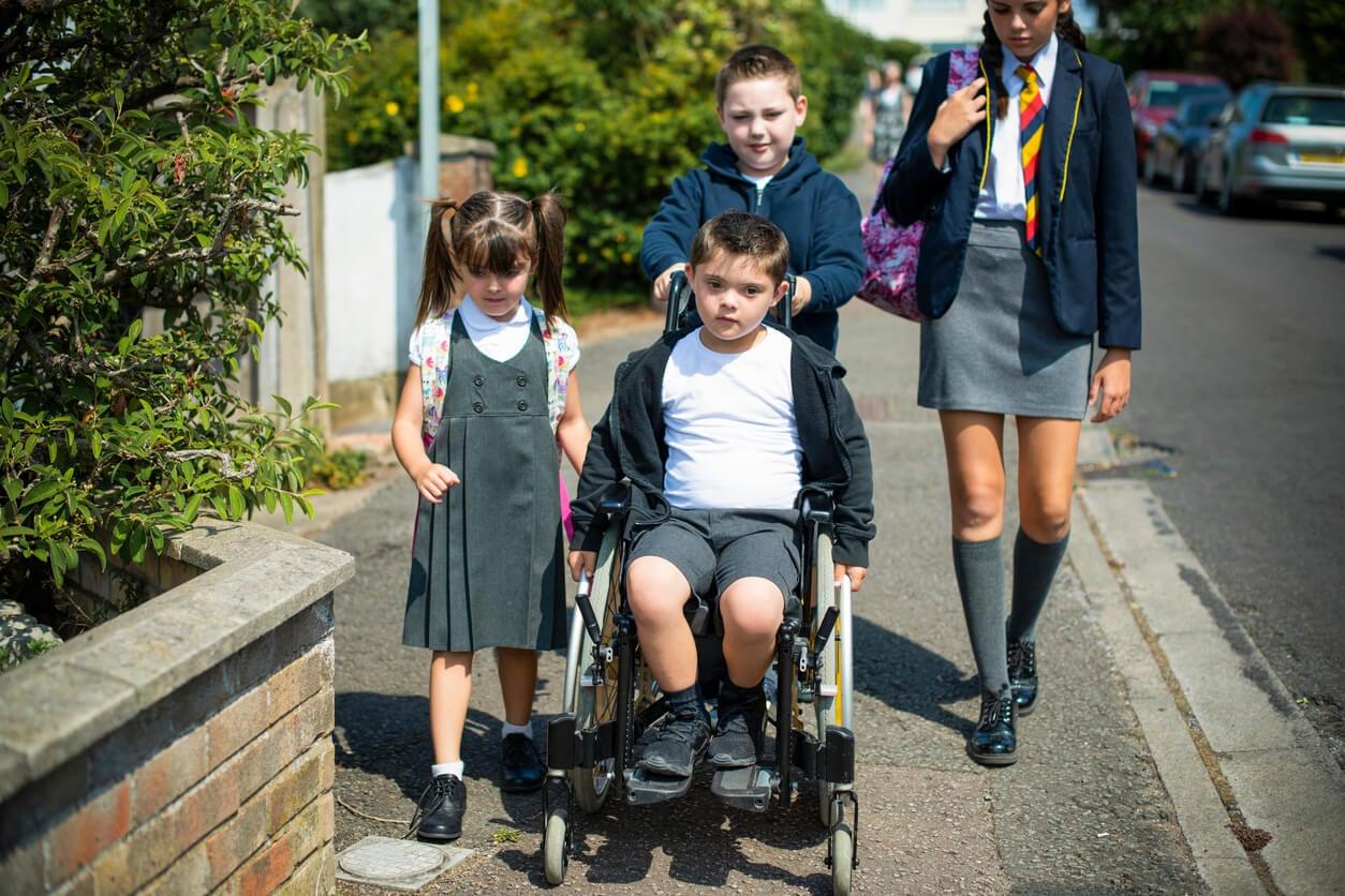 ninos ninas hermanos hermanas acompanan necesidades educativas especiales discapacidad camino escuela silla ruedas calle via publica integracion