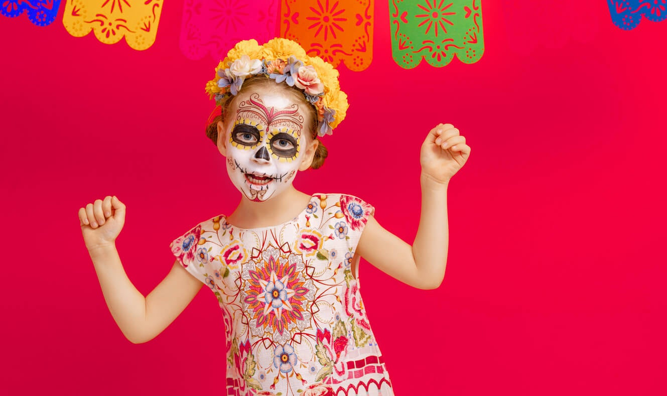 nina mexicana disfraz muertos
