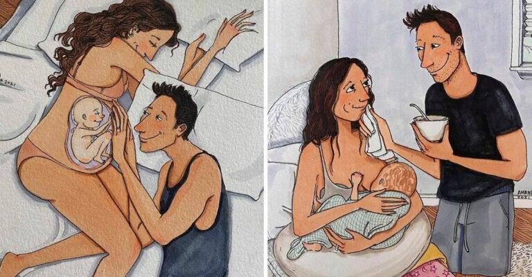 Difícil pero hermoso: ilustraciones muestran cómo es el viaje del embarazo y la maternidad